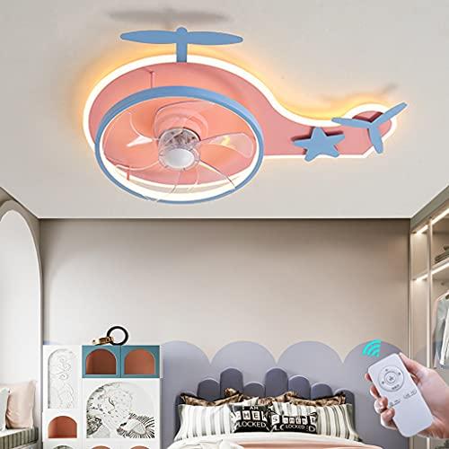 Ventilador De Techo Con Iluminación Ventilador De Avión Moderno Luz De Techo Led Regulable Control Remoto Lámpara De Techo Ventilador Para Comedor Sala De Estar Dormitorio Habitación Infantil (Pink)