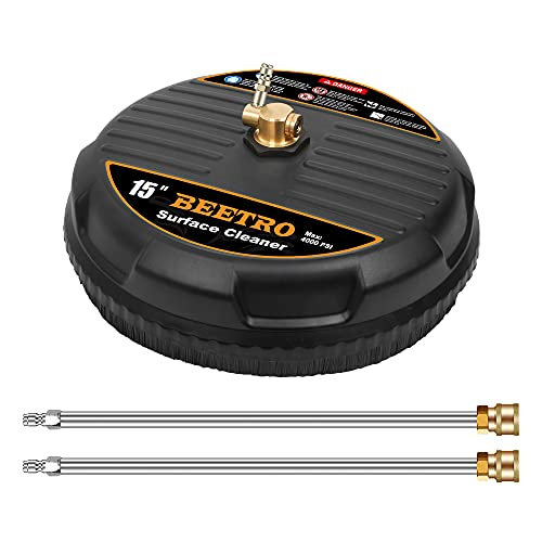BEETRO 15' Pressure Washer Surface Cleaner, Pressure Washer Attachment with 2 Extension Wands for Cleaning Driveway, Sidewalk, Deck, Patio, 4000 PSI