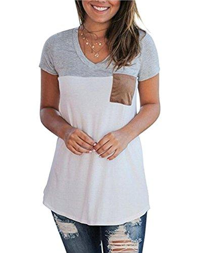 Kinsmirat Damen V-Ausschnitt Shirts Casual Bluse Loose T-Shirt Oberteil Tops (L, Grau)