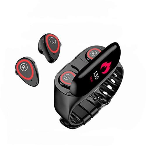 OOFAY 2 in 1 Smartwatch Mit Kabellosen Bluetooth Kopfhörer, Fitness Armband Wasserdicht, Fitness Uhr Mit Ersatzarmband Aktivitätstracker Schrittzähler, Smart Armband Für Kinder Damen Herrn