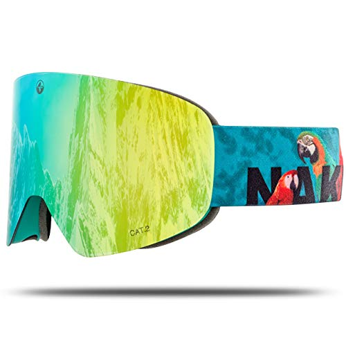 NAKED Optics Skibrille Snowboard Brille für Damen und Herren - Verspiegelt mit Magnet-Wechselsystem – Ski Goggles for Men and Women (PapageiL, ohne Schlechtwetterglas)
