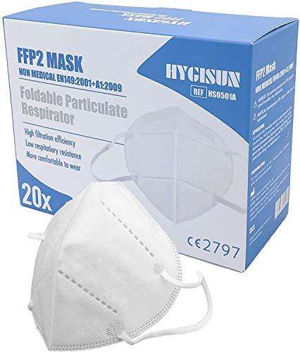 20x FFP2 Maske KN95 DEKRA geprüfte DECADE Mundschutz Einweg Atemmaske, Mund Nasenschutz Mundschutz Maske einzelverpackt im PE-Beutel, n95 Maske Schutzmaske Schutzmasken FFP2 Maske medizinisch