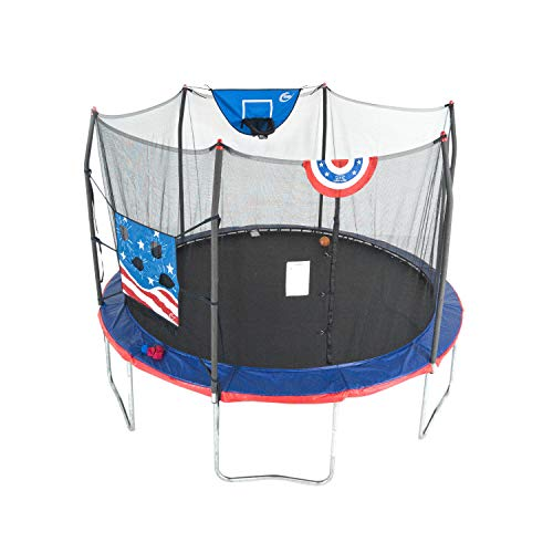 Skywalker Trampolines 15 Foot Jump N Dunk Round Trampoline with Enclosure-Basketball- Stars & Stripes