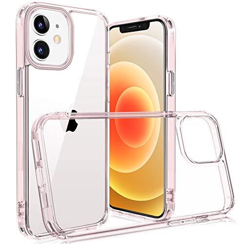 Yisica - Carcasa transparente compatible con iPhone 12/iPhone 12 Pro (6,1''), marco de silicona + placa trasera de cristal templado), antigolpes y protección completa, compatible con iPhone 12/12 Pro
