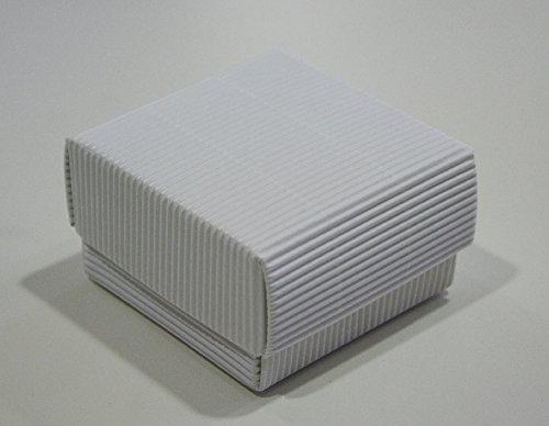 Giomo 10 Scatola con Coperchio in cartoncino Ondulato Avana Bianca -cm.7x7 H.3,5 - Scatolina portaconfetti bomboniera Bianco