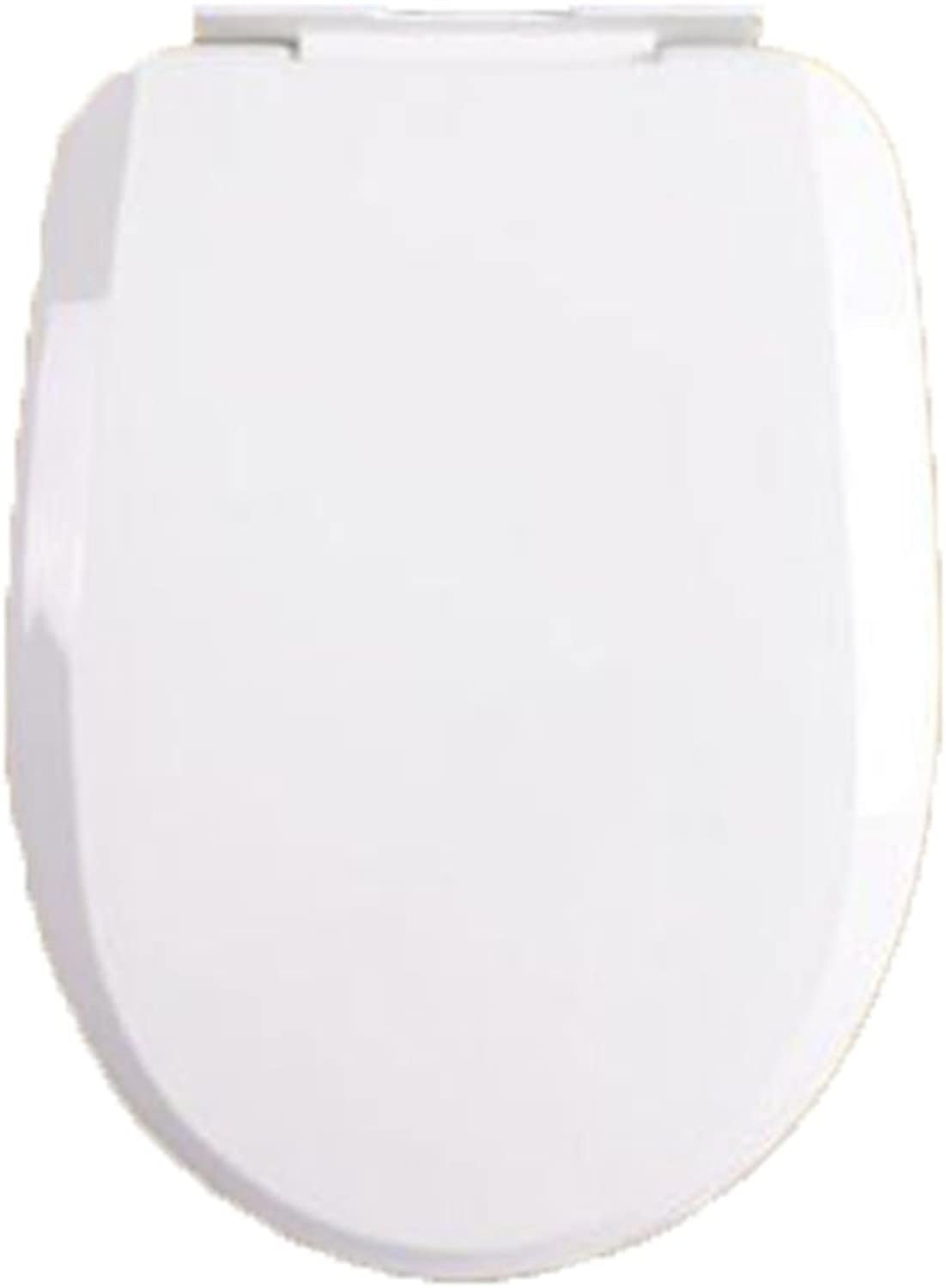 Toilet Seat U Toilet Mute Thickening Toilet Cover Descending, White-40-44  34-35cm