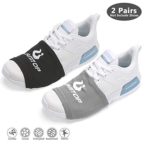 LAMANTOP Socks for Dancing on Smooth Floors-Over Shoe Sneakers Socks Sliders-Pivots & Turns to Dance with Style on Wood Floors-Zumba Accessories for Women Men-One Size Fits All(2 Pairs(Black & Grey))