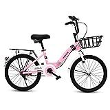 LIPENLI Infantil bicicleta plegable de 16 pulgadas Estudiante plegable bicicleta Niña 6-12 Año viejo camino de bicicletas de montaña rosa al aire libre bicicleta de la bici (color: rosa, Tamaño: 16IN)