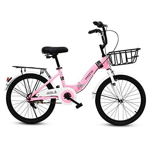 LHQ-HQ Infantil Bicicleta Plegable de 16 Pulgadas Estudiante Plegable Bicicleta Niña 6-12...