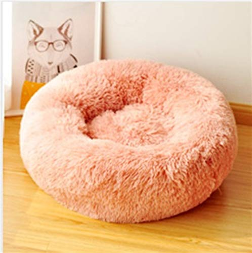 Price comparison product image LNLW Donut Cuddler (Multiple Sizes) Round Cat and Dog Cushion Bed Puppy Mat Long Plush Super Balmy Pet Winter Warm Quiescence Bag Portable Supplies (Color : Pink,  Size : 40cm)
