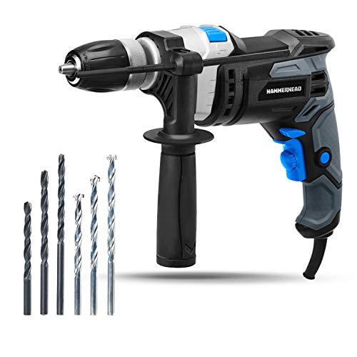 Find Discount Hammerhead 7.5-Amp 1/2 Inch Variable Speed Hammer Drill with Metal Bits and Concrete B...
