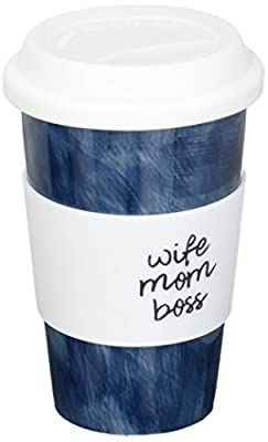 Mom Navy Blue Ceramic Travel Mug With Lid