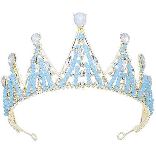 YNYA Diademe Braut Krone Protein hellblau Perlen Legierung Krone Krone Perlen Hochzeit Schmuck Krone Ornamente Hochzeitsgeschenke
