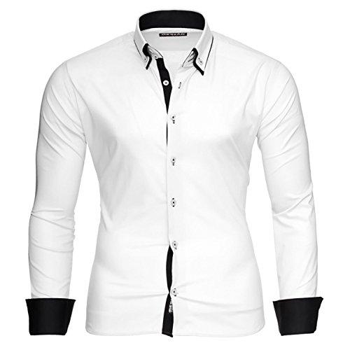 Reslad Herren Hemd Männer bügelfrei figurbetont Freizeit-Hemden Business 2 Knopf Doppelkragen RS-7050 Weiß Schwarz Gr XL