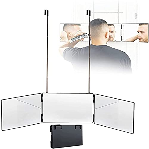 APCHY Miroir 360° - Self Cut Mirror - Miroir 3 Faces Pliable avec Crochets Adaptables sur Toutes,Miroir De Maquillage avec Crochet Au-Dessus De La Porte, Miroir De Maquillage,Noir