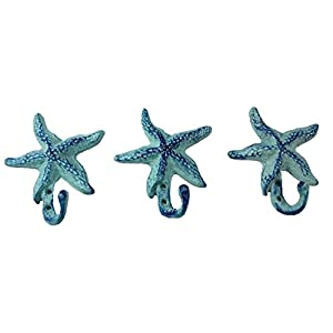 Starfish Cast Iron Wall Hooks Antique Blue –...