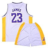 YQA # 23 Lakers James Camiseta De Baloncesto Sin Mangas,Baloncesto Camiseta,PantalóN Corto Conjunto De Dos Piezas Ropa Deportiva NiñOs Ropa Informal,Blanco,L