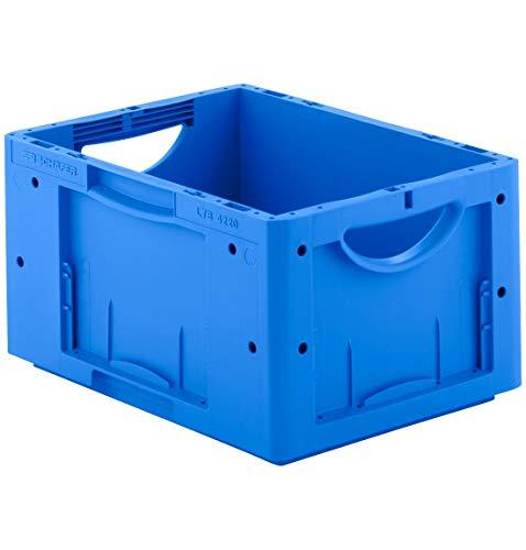 SSI Schäfer LTB 4220 Eurokiste Kunststoffbox Transportbox offen ohne Deckel, 400x300 mm, 19,8 l, 50 Kg Tragkraft, Made in Germany, Blau