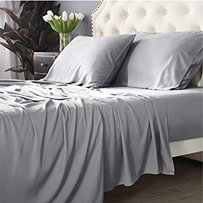 Bedsure 100% Bamboo Sheets King Size Cooling Sheets Deep Pocket Bed Sheets-Super Soft Hypoallergenic,Breathable - 4 Pieces 1 Fitted Sheet with 16 Inches, 1 Flat Sheet, 2 Pillowcases-Light Grey