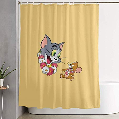 xuefan Shower Curtain Tom and Jerry Art Print, Polyester Fabric Bathroom Decorations Collection with Hooks- 60 X 72 Inch