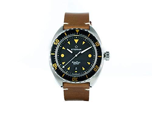 Eterna Super KonTiki Automatik Uhr, SW 200-1, Schwarz, Lederband