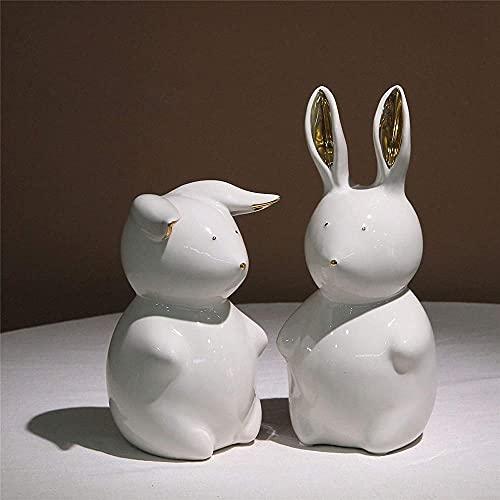 Juego de 2 estatuillas de Conejo pequeñas para niños pequeños, estatuas de jardín para decoración del hogar / Oficina, Regalos de Pascua de cerámica Naranja-Blanco