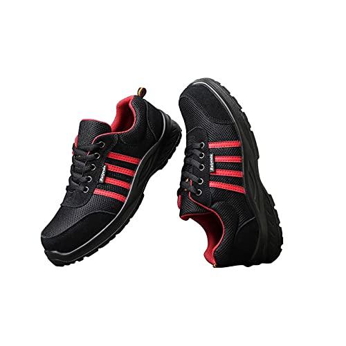 LLKK Calzado de protección,Zapatos Deportivos,Zapatos de Seguridad,Zapatos de Hombre,Calzado Casual Transpirable Anti-Rotura y Anti-Perforaciones con Punta de Acero y Suela tendinosa
