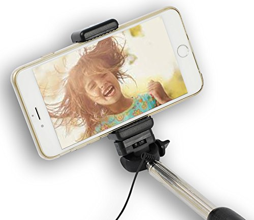 Best Monopod Cable Selfie Stick – Wired, Battery-Free Selfie Pro Pole - Fast Response Built-in Shutter – Extendable and for Your Smartphone or Camera, iPhone or Android – Full!