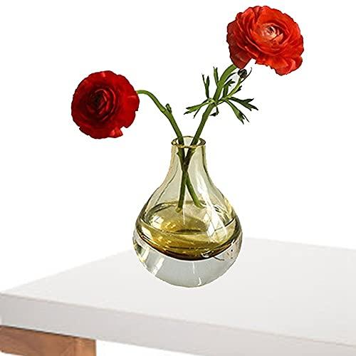LXLAMP Florero Vintage, jarrón Cristal Decorativo floreros Decorativos Modernos Florero de Cristal Claro cristalino de la Gota de Agua supergruesa Simple(ámbar)