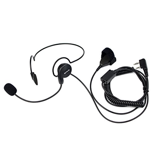 Retevis Walkie Talkies Earpiece with Finger PTT 2 Pin Behind Head Headset with Mic for Baofeng UV-82 UV-5R Retevis H-777 RT21 RT15 2 Way Radio(1 Pack)
