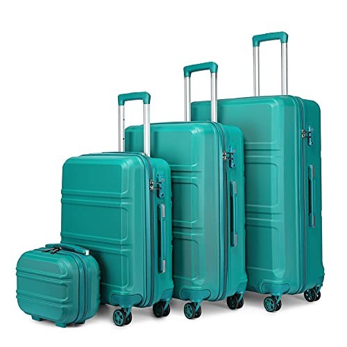 Kono 4tlg Reisekoffer TSA-Schloß Trolley Koffer ABS Hartschalen Kofferset-XL-L-M- Handgepäck Kosmetikkoffer (Türkis)