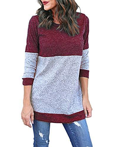Kyerivs Damen Langarm Shirts Strick Oberteil Pullover Rundhals Casual Jumper Tops (Rot, XL)