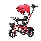 YGB New Baby Push Trike, Carrito de bebé Carrito de bebé Bicicleta Triciclo para niños 1-3-6 años Bicicleta Niño Niña Coche de Juguete Valla de Seguridad (Color: Rojo)