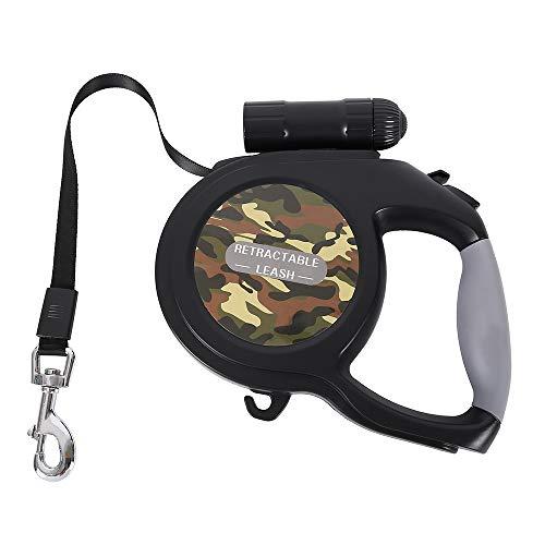 Lovestoryeu Einziehbare Hundeleine, 8 m, mit LED-Taschenlampe für mittelgroße und große Hunde bis zu 50 kg, Ein-Knopf-Bremsverschlusssystem, komfortabler, ergonomischer Handgriff (Camo Green)