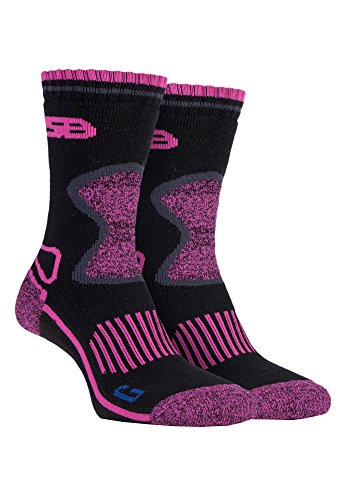 Storm Bloc 2 Pairs Ladies Cushioned Sole Wool Blend Winter Hiking Socks with Arch Support 4 8 uk SBGLS003CHA