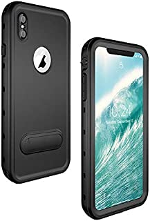 iPhone Xs Max Waterproof Case, ZERMU Colorfue Kickstand Shockproof Snowproof Cover IP68 Underwater Full Body Protection Built-in Screen Protector Underwater Waterproof Case for iPhone Xs Max 6.5 inch