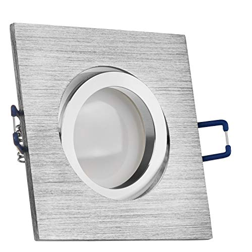 LEDANDO LED Spanndecken Einbaustrahler Set Bicolor (chrom/gebürstet) 5W DIMMBAR GU10 Deckenstrahler - Spots - Deckspot - 230V