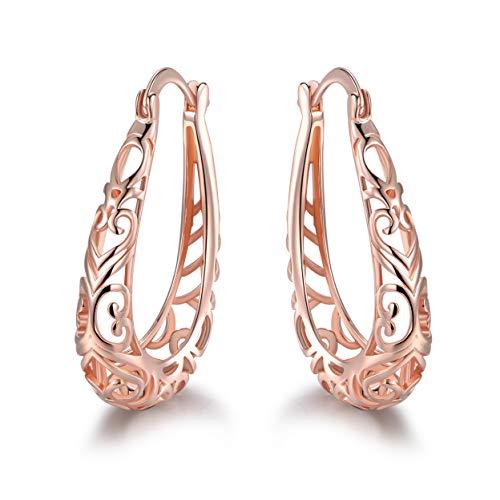 SGS International - Pendientes de aro ovalados chapados en Oro Rosa con Filigrana