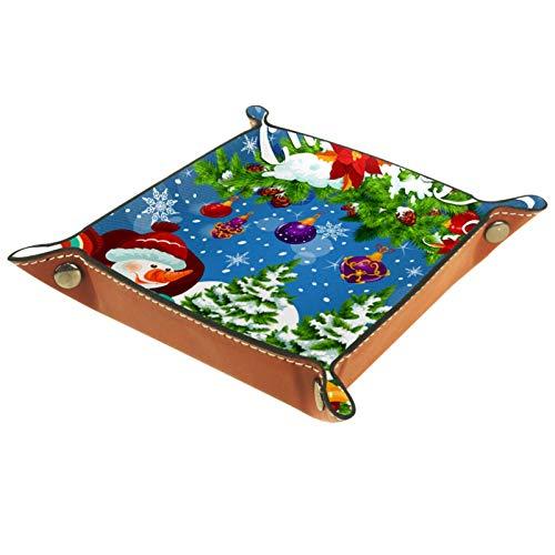 Bandeja de valet Organizador de escritorio Caja de almacenamiento Regalo de Navidad de cuero en trineo de Papá Noel Tarjeta