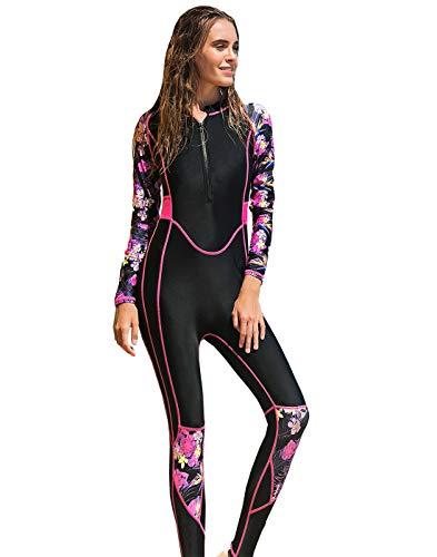 Aivtalk Traje de Buceo Mujer de Secado Rápido Traje de Surf de una Pieza Manga Larga con Almohadilla para el Pecho Swimwear Rosa M