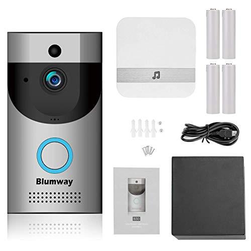 Sonnette vidéo sans fil, BlumWay caméra de sécurité IP65 étanche DoorBell 720P HD Wifi avec Glockenspiel et batterie rechargeable, contrôle des applications pour iOS et Android