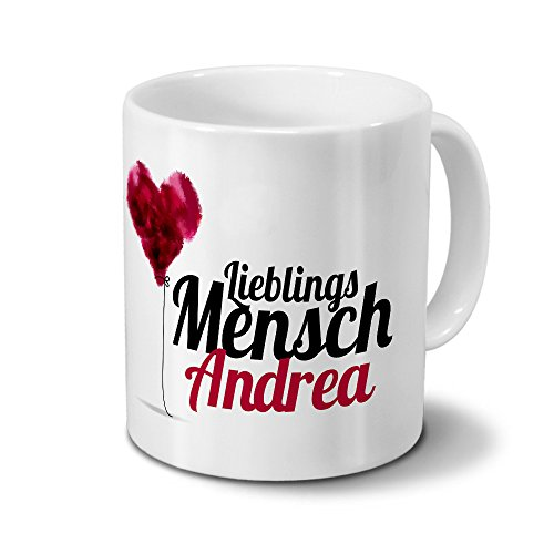 printplanet Tasse mit Namen Andrea - Motiv Lieblingsmensch - Namenstasse, Kaffeebecher, Mug, Becher, Kaffeetasse - Farbe Weiß