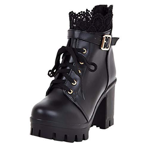 WUSIKY Stiefeletten Damen Mode dicken high Heel schnüren Stiefeletten plattform Spitze Student Bootsschuhe Damen Schuhe (Schwarz, 35 EU)