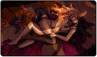 Liliana vess and chandra nalaar kissing Board Cards Games Play Mat table pad size 60x35 cm mousepad playmats with waterproof storage bag for mtg ygo ccg tcg yugioh pokemon Magic The Gathering (vwhite)