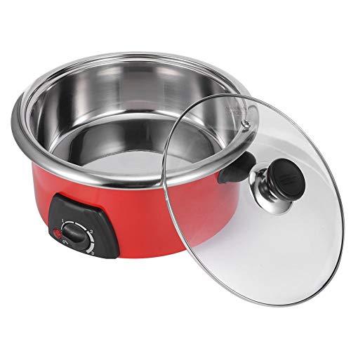 5L Slow Cooker, Multifunktionales Schongarer Edelstahl Kochtopf, 3 Level Feuerkontrolle, mit gehärtetem Glasdeckel(220V)