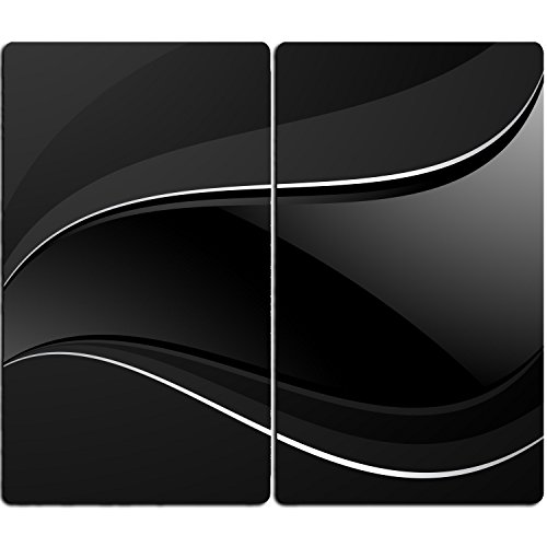 DEKOGLAS Herdabdeckplatten Set inkl. Noppen aus Glas 'Abstrakte Linien schwarz', Herd Ceranfeld Abdeckung, 2-teilig universal 2x 52x30 cm