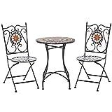 Outsunny Garten Sitzgruppe 3-teilige Mosaiktisch Essgruppe Gartenmöbel-Set 1 Tisch+2 Faltbare Stühle Terrasse Metall Mehrfarbing