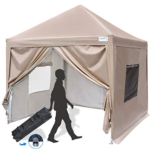 Quictent Privacy 8x8 Ez Pop up Canopy Tent Enclosed Instant Canopy Shelter Protable with Sidewalls and Mesh Windows Waterproof (Tan)