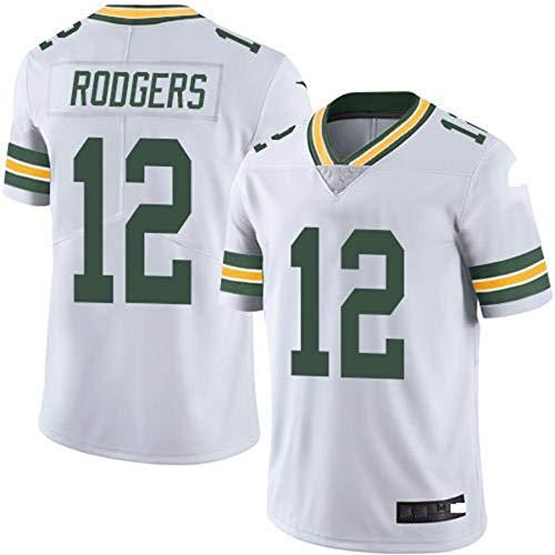 L-SLWI Green Bay Packers Aaron Rodgers # 12 Männer Rugby Jersey, Baumwollsport-Kurzärmlige Quick-Dry-Hemd, Geeignet Für Bewegung Und Rugby-Wettbewerb,Weiß,XXL