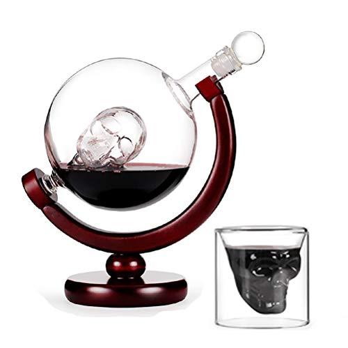 UKE Cráneo De Cristal Jarra del Vino, Vino Grande Cráneo Decanter 800Ml con El Soporte De Madera 100% Sin Plomo De Vidrio Utilizados para El Vino Regalos Y Accesorios del Vino,B